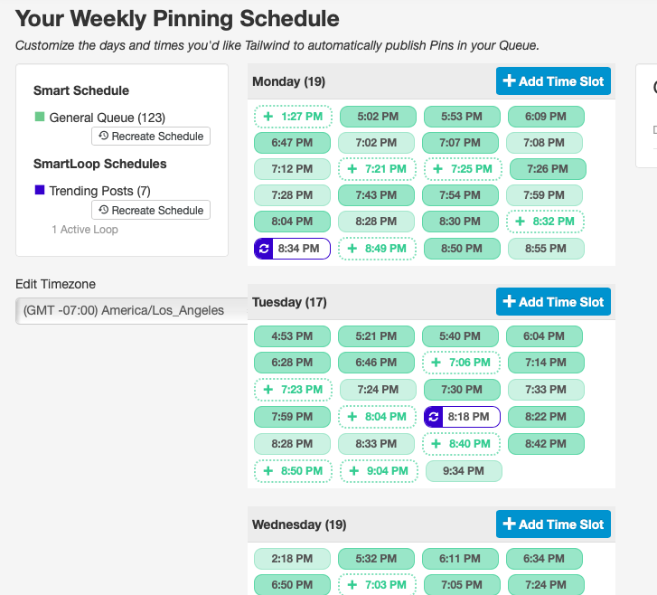 Tailwind Weekly Pinning Schedule Example